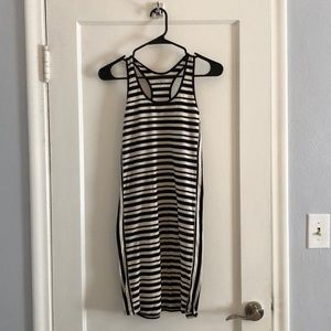 Black and white Racer back cotton striped dress